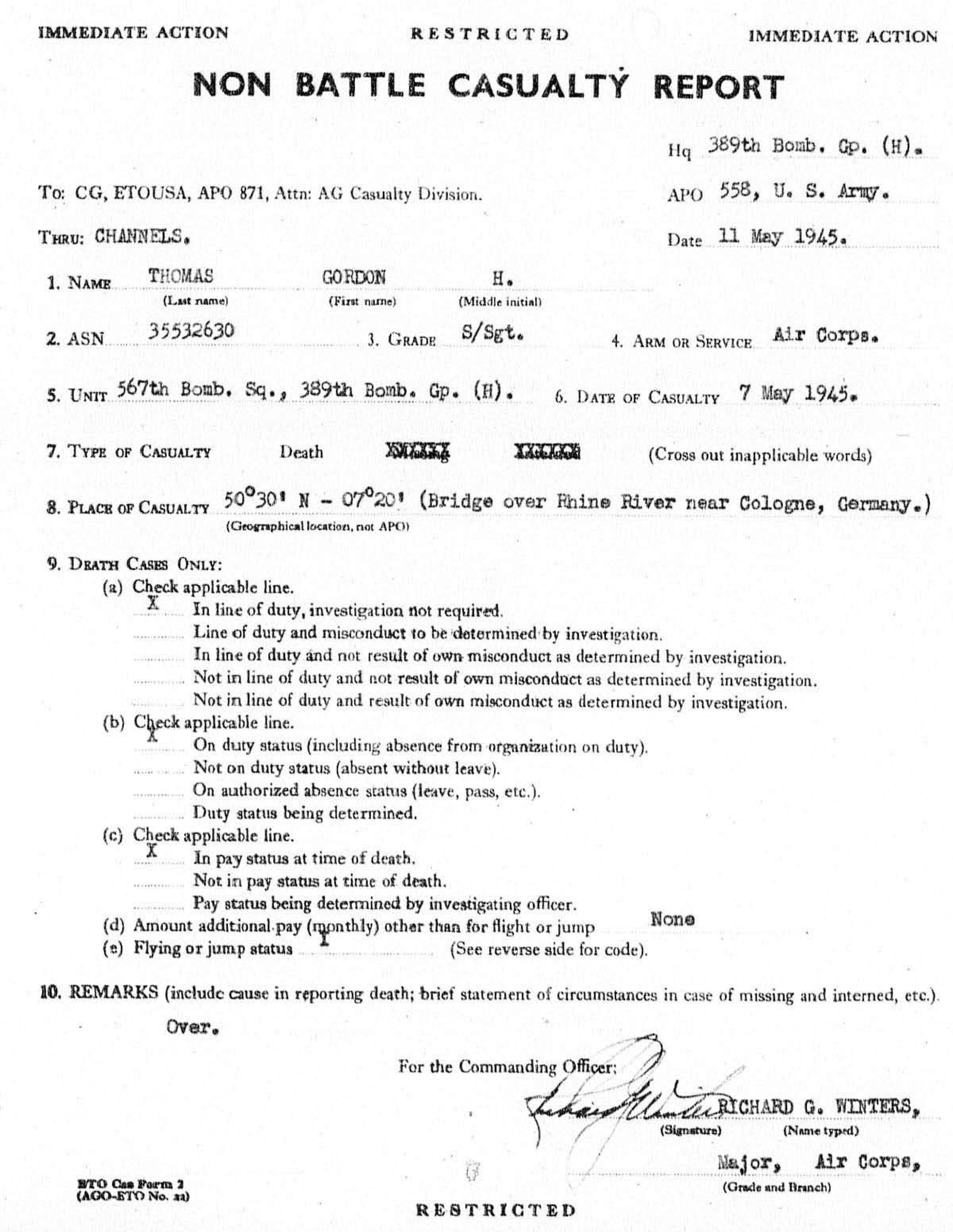 Gordon Thomas - Non Battle Casualty Report - May 1945