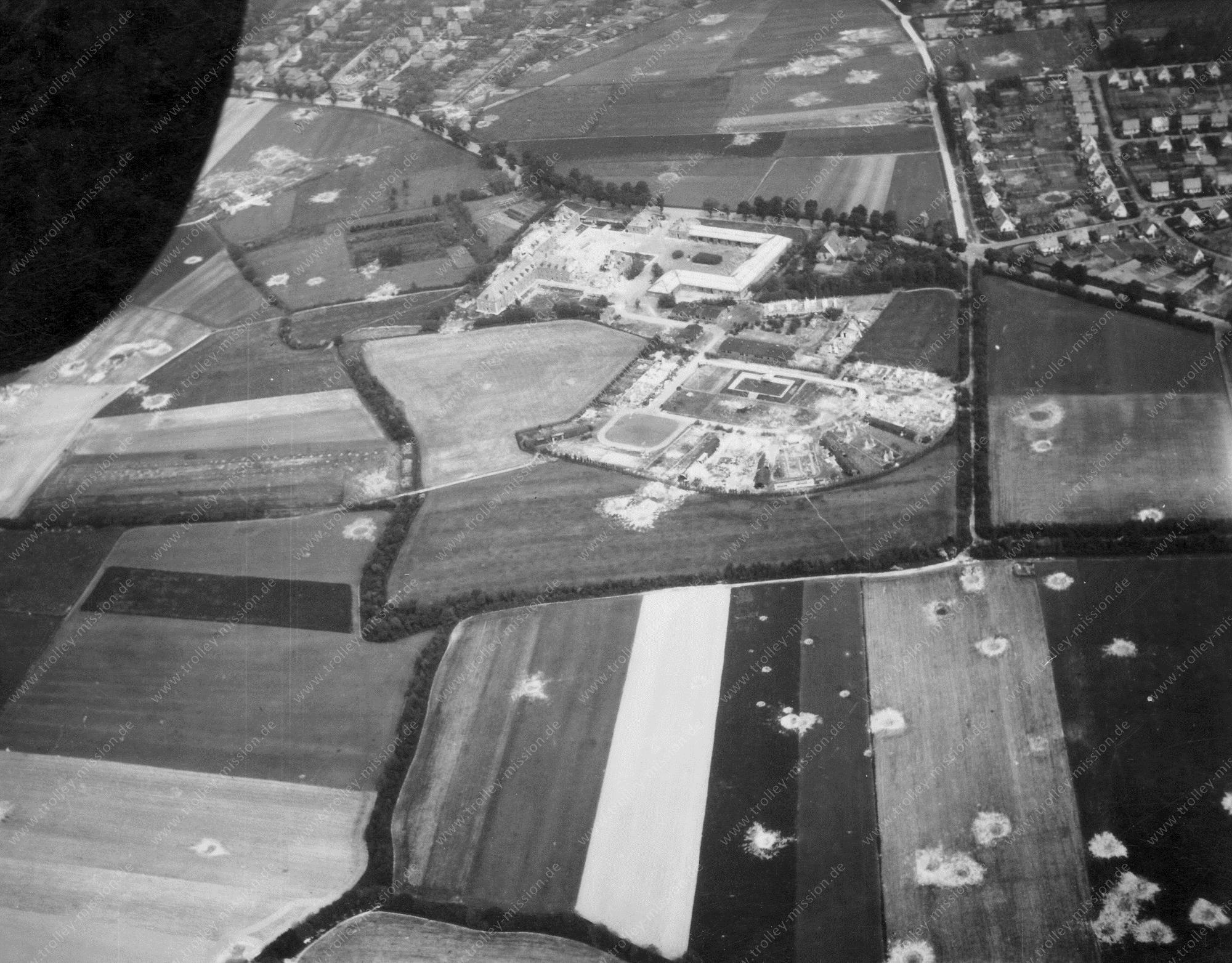 Muenster from above: Aerial view after Allied air raids in World War II