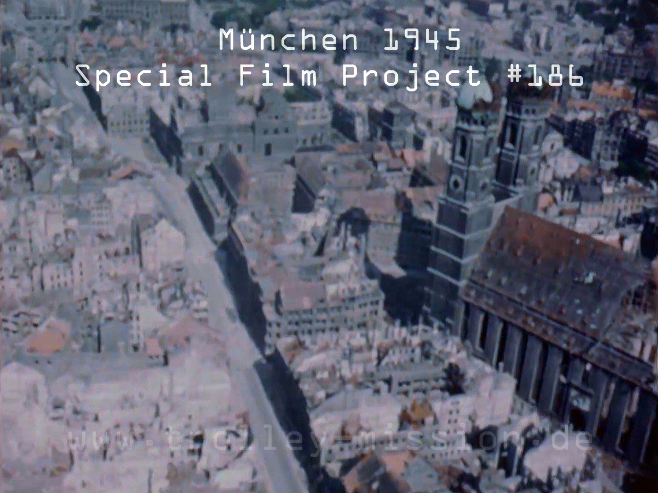 Low level flight video showing the destruction of Munich (München), Germany, at the end of the European War (Second World War) 1945